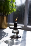 Image of the Short Grey Smoked Glass Traditional Style Candle Stick Holder
