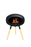 Image of the Ground Wood Ash Low Black Le Feu Eco Fireplace on a white background
