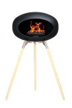 Image of the Ground Wood Ash Tall Black Le Feu Eco Fireplace on a white background