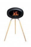 Image of the Ground Wood Oak Tall Black Le Feu Eco Fireplace on a white background
