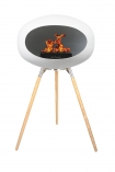 Image of the Ground Wood Oak Tall White Le Feu Eco Fireplace on a white background