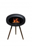 Image of the Ground Wood Wenge Low Black Le Feu Eco Fireplace on a white background