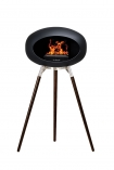 Image of the Ground Wood Wenge Tall Black Le Feu Eco Fireplace on a white background