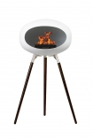 Image of the Ground Wood Wenge Tall White Le Feu Eco Fireplace on a white background