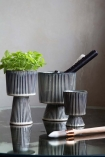 Image of the Set Of 3 Striped Goblet Pots