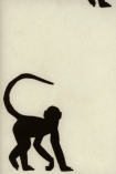 detail image of Cheeky Monkey Wallpaper By Andrew Martin - Ebony black silhouettes of monkeys on pale background