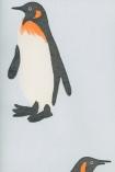 detail image of Emporer Wallpaper By Andrew Martin - Blue black white and orange penguin on pale blue background