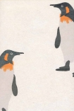 detail image of Andrew Martin Emporer Wallpaper - Frost - SAMPLE black white and orange penguins on pale background repeated pattern