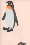 detail image of Emporer Wallpaper By Andrew Martin - Pink black white and orange penguin on pale pink background
