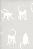 detail image of Mischief Wallpaper By Andrew Martin - Cloud white silhouettes of monkeys on nude background