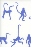 detail image of Mischief Wallpaper By Andrew Martin - Denim blue silhouettes of monkeys on white background