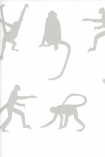 detail image of Mischief Wallpaper By Andrew Martin - Taupe nude silhouettes of monkeys on white background