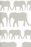 detail image of Nell Wallpaper By Andrew Martin - Taupe grey silhouettes of elephants on white background