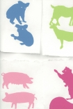 detail image of Two By Two Wallpaper By Andrew Martin - Multi Coloured blue, green and pink toned animals on white background