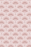 detail image of the Betsy Fan Ditsy Pink Wallpaper by Pearl Lowe pink toned scalloped repeated pattern