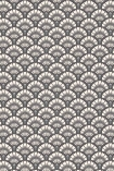 detail image of the Betsy Fan Ditsy Smoke Wallpaper by Pearl Lowe black and white scalloped repeated pattern