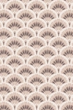 detail image of the Betsy Fan Ditsy Tobacco Wallpaper by Pearl Lowe pink and brown scalloped repeated pattern