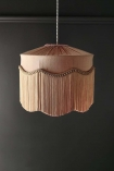 Image of the BeauVamp Blush Pink Silk Tiffany Lamp Shade with Wavy Tassel Fringe