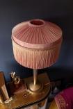 Image of the BeauVamp Blush Pink Silk Tiffany Lamp Shade with Straight Tassel Fringe