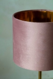 Image of the Blush Pink Velvet Lamp Shade on a lamp