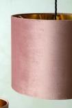 Image of the Blush Pink Velvet Lamp Shade on a ceiling light