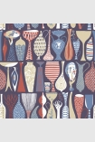 square detail image of BorasTapeter Scandinavian Designers II Wallpaper - Pottery - Red 1760 - ROLL rows of red blue and cream vases on blue background repeated pattern