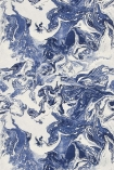 detail image of Christian Lacroix Butterfly Parade Collection - Bain de Minuit Wallpaper - Mediterranee PCL016/06 - ROLL blue and white marble effect repeated pattern