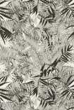 detail image of Christian Lacroix Butterfly Parade Collection - Eden Roc Wallpaper - Nacre PCL017/01 - ROLL grey and black palm leaves on white background repeated pattern