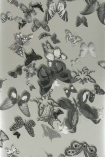 detail image of Christian Lacroix Butterfly Parade Wallpaper - Zinc PCL008/06 - ROLL grey effect butterflies on grey background repeated pattern