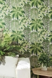Close-up lifestyle image of the Fern Wallpaper by Cole & Son