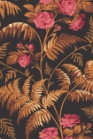 Close-up sample image of Rose Wallpaper - Cerise & Burnt Orange On Black by Cole & Son