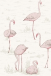 detail image of Cole & Son Contemporary Restyled - Flamingos Wallpaper - Pink on White 95/8045 - SAMPLE pink flamingos and plants on white background