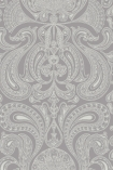 detail image of Cole & Son Contemporary Restyled - Malabar Wallpaper - Silver on Grey 95/7042 - ROLL grey and white toned renaissance style repeated pattern