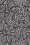 detail image of Cole & Son Contemporary Restyled - Malabar Wallpaper - Gilver on Charcoal 95/7043 - ROLL grey toned renaissance style repeated pattern