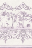 detail image of Cole & Son Folie Collection - Rousseau Border - Dove 99/10043 - ROLL purple and nude palm trees with oriental style border repeated pattern