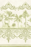 detail image of Cole & Son Folie Collection - Rousseau Border - Old Olive 99/10045 - ROLL green and cream palm tres with oriental style border repeated pattern