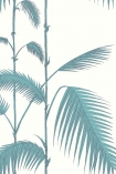 detail image of Cole & Son New Contemporary - Palm Leaves Wallpaper - Teal 66/2012 - ROLL teal palm leaves on stems with white background repeated pattern