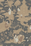 detail image of Cole & Son The Archive Anthology - Chinese Toile Wallpaper - Charcoal 100/8040 - ROLL nude and grey Chinese scene repeated pattern
