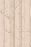 detail image of Cole & Son Whimsical Collection - Woods Wallpaper - Peach 103/5024 - ROLL nude trees repeated pattern on peach pink toned background