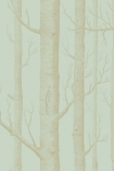 detail image of Cole & Son Whimsical Collection - Woods Wallpaper - Green 103/5023 - ROLL brown toned tree trunks on pale green background repeated pattern