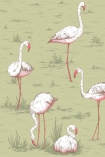 detail image of Cole & Son New Contemporary - Flamingos Wallpaper - Olive 112/11038 - ROLL pink flamingos on green background repeated pattern