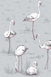 detail image of Cole & Son New Contemporary - Flamingos Wallpaper - Lilac Grey 112/11040 - ROLL pink and white flamingos on grey background repeated pattern