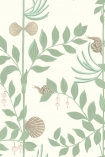 detail image of Cole & Son Whimsical Collection - Secret Garden Wallpaper - Light Green 103/9031 - ROLL light green leaves and branches and grey shells on pale background