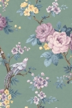 detail image of the Dawn Chorus Forest Green Wallpaper by Pearl Lowe purple and orange toned roses with green leaves on green background