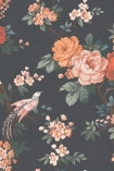 detail image of the Dawn Chorus Noir Black Wallpaper by Pearl Lowe orange and pink toned roses with green leaves on dark background