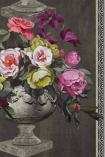 detail image of Designers Guild Wallpaper - Zephirine Collection - Ornamental Garden Panel Print - Slate P551/01 - ROLL pink and green toned roses in grey vases repeated pattern