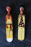 Image of the Disco Dancer & Disco Diva Doorstops on dark floor background lifestyle image