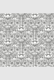 square detail image of Engblad & Co Rosegarden Wallpaper - White & Black 6086 - ROLL black and white roses floral repeated pattern