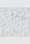 square detail image of Engblad & Co Front Leaves Wallpaper - White 4056 - ROLL overlapping leaves repeated pattern