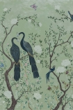 detail image of Edo Mural Design Wallpaper Panel - Mint Green 6600090 - SAMPLE grey birds on branches with white flowers on green background